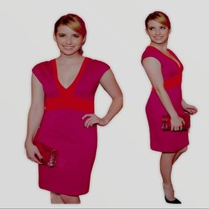 Designer color block sheath bodycon ponte dress